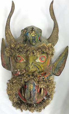 """Nahua Vintage Mask, 27"""" Carved, Painted, Guerrero, Mexico"""