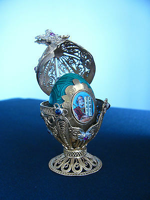 Vintage Imperial Russian Silver Filigree Malachite Egg Orthodox Moses
