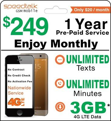 1 Year Prepaid Wireless Plan-Monthly 1000 Talk Txt Data No Contract GSM SIM Card