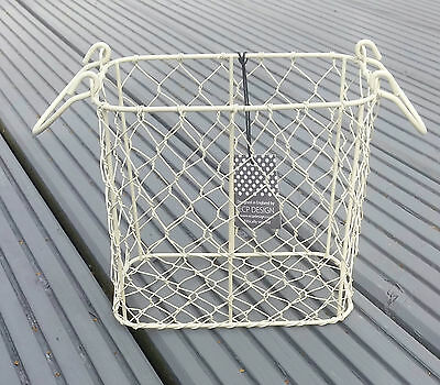 Vintage Rustic Cream Wire Storage Basket Display Table Kitchen Bathroom Decor