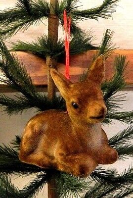 3 Inch-NEW-Cute-Brown Bambi/Fawn/Deer Flocked Christmas-Ornament/Gift-Germany