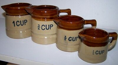 4 STONEWARE MEASURING CUPS w/ Handles Pitchers Honey Brown Drip NEW without Box