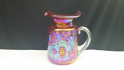 Gibson Red Carnival Grape And Leaf Glass Milk Pitcher 2000