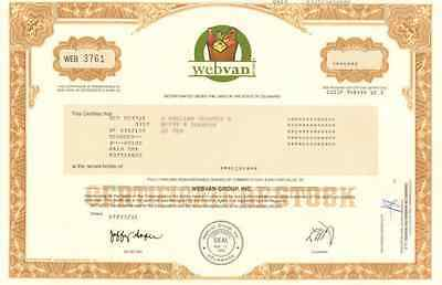 webvan.com   online internet grocery website stock certificate   now Amazon