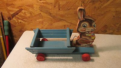 Old Fisher Price Bunny & Cart Pull Top No. 406