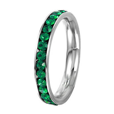 Stainless Steel Eternity Emerald Crystal May Birthstone Stackable Ring 3MM