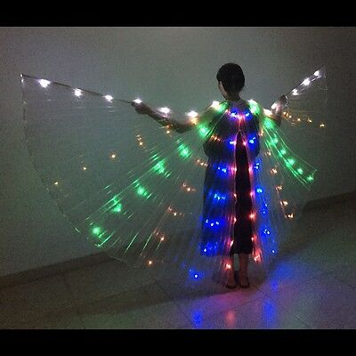 BELLY DANCE Wings light up show LED ISIS WINGS White RAINBOW GOLD Silver Wings