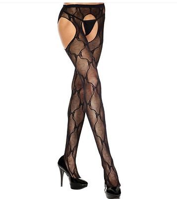 Plus Size 16 to 22 Bow Lace Fishnet Suspender Pantyhose
