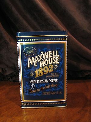 Vintage Maxwell House 1892 Slow Roasted Coffee Rectangular Tin Can, 100yr Anniv.