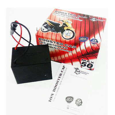 BOOSTER CAP MAX 50 Boosting Bike Performance Prolong Battery Alternator 70-250CC