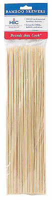 HIC Bamboo BBQ, Kabob and Grill Skewers, 12-Inches Long, Set of 100 (4415)
