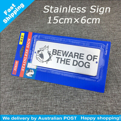 Plastic BEWARE OF THE DOG Enter at your own Risk Sign 20cm x 6.5cm