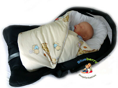 BlueberryShop Luxury Classic for CAR SEAT Swaddle Wrap Blanket Sleeping Bag for