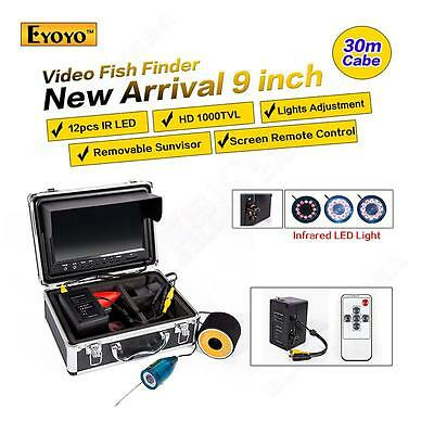 """9"""" LCD 1000TVL 30M Underwater Fishing Video Camera System Fish Finder+Cell Box"""