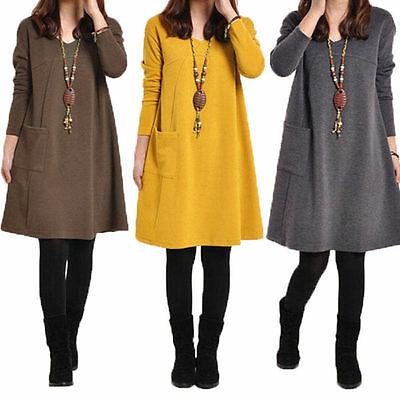 Women Ladies Casual Loose Long Tops Cotton Tunic Swing Skater Mini Skirt Dress