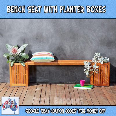 Bench Seat with Planter Boxes - Outdoor / Garden / Deck Furniture - Acacia Wood