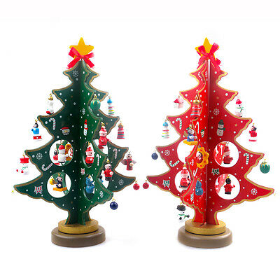"""11.8"""" Wooden Tabletop Christmas Tree with Miniature Christmas Ornament Decor"""