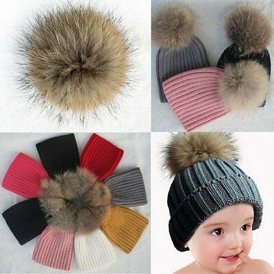 Winter Warm Child Baby Kid Toddler Hairball Cap Boys Girls Knitted Hat Crochet