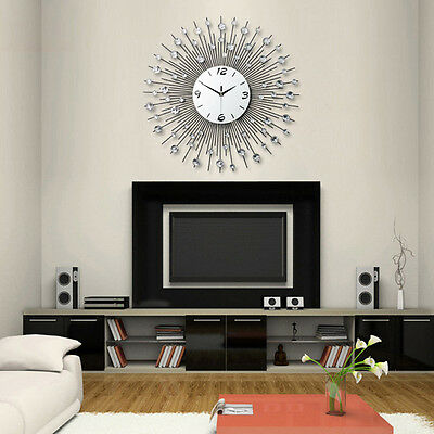 Modern Wall Clock Metal Sunburst Digital Wallclock Diamante Crystal Beaded Decor