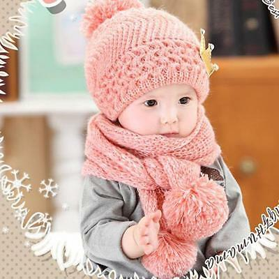 Newborn Baby Kids Girl Boy Winter Warm Wool Knitted Crochet Scarf Cap Beanie Hat
