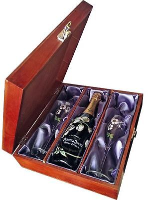 Perrier Jouet Belle Epoque Champagne 75cl and two Flutes in Wooden Gift Box