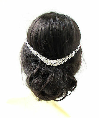 Silver Rhinestone Diamante Bridal Headband Headpiece Hair Vine Wedding Clip 626