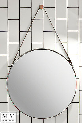 DIPRE -Large Round Luxury Wall Mirror with leather strap Copper