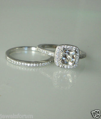 Vintage 14k White Gold Solitaire Diamond Engagement Rings Cushion Cut 2Ct Band
