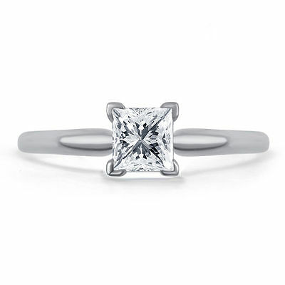1.75 Ct New Diamond Engagement Ring Vintage 14k Solid White Gold Princess Cut