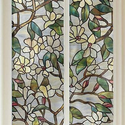3D Flower Printed Privacy Windows  Stained Static Glass Film For Window Decor