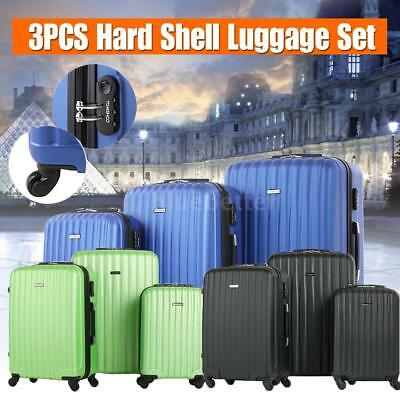 3PCS Suitcase Trolley Set +Carry ons Luggage 4 Wheel Hard Shell Lock Spinner F1N