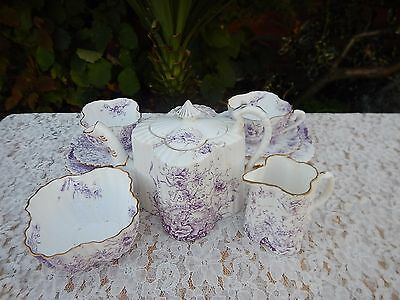 Antique Wileman Foley Alexandra shaped Lilac colourway tea for two *Display only