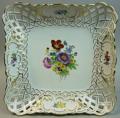 A Fine Antique Meissen Hand Painted & Pierced Porcelain Dish C.1920
