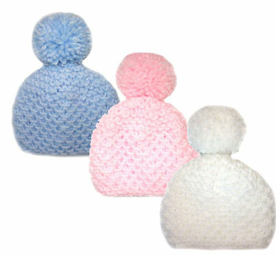 Hand Knitted Chunky Cute Baby Bobble Hats, Mittens, Booties Bootees -Newborn 0-3