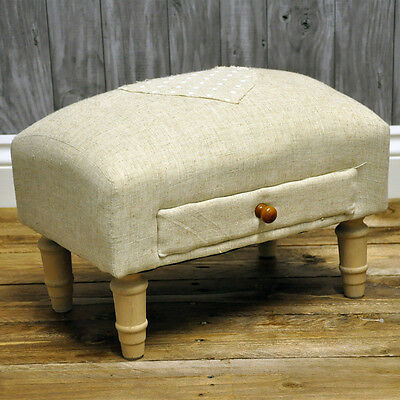 Cream Heart Linen Fabric Footstool with Drawer & Wooden Legs Shabby Chic Vintage