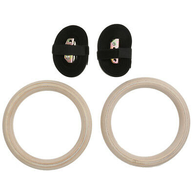 2pcs Wood Gymnastic Rings Olympic Strap Buckles Gym Training Pull Up Dips