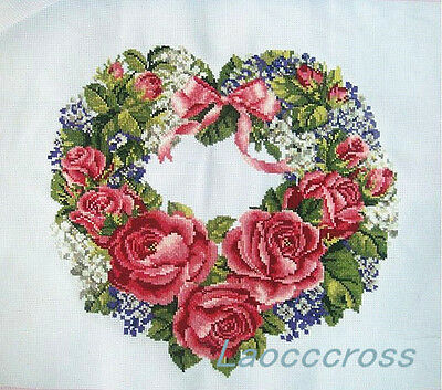 "New Completed finished Cross stitch""ROSE WREATH""home decor sale gifts"