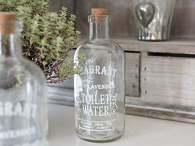 Lavender Water Antique French Chic Glass Jar  Bathroom Bottle Valentine Storage