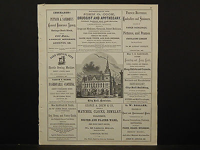 Maine Androscoggin County Map 1873 Subscribers Business Directory, History O3#63