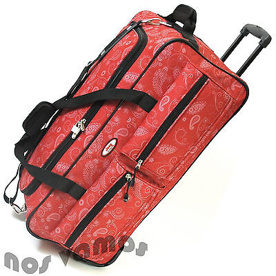 """Jeep 27"""" Red Paisley Wheeled Holdall Trolley Luggage Overnight Cargo Travel Bag"""