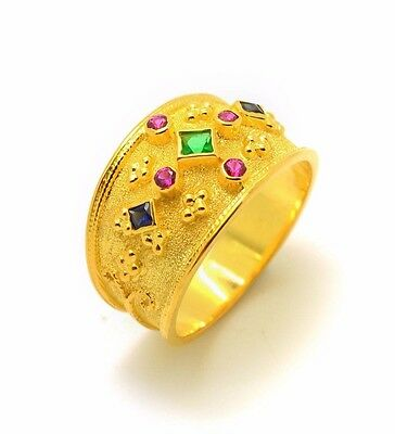 Medieval Etruscan Sterling Silver Gold Plated Byzantine Ring Greek Multi Stone