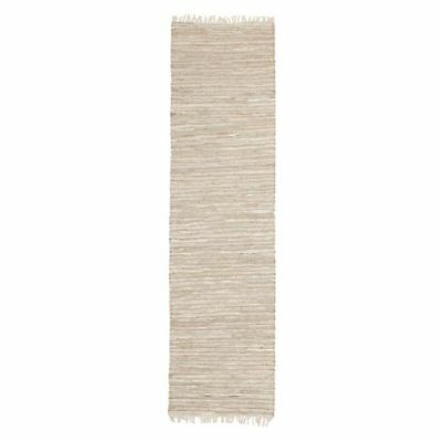 NEW Rug Culture Indra Jute & Leather Runner Rug, Natural White