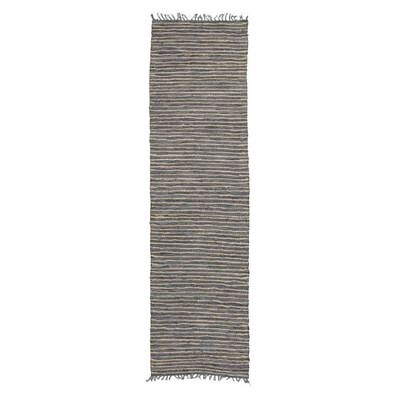 NEW Rug Culture Indra Jute & Leather Runner Rug, Grey