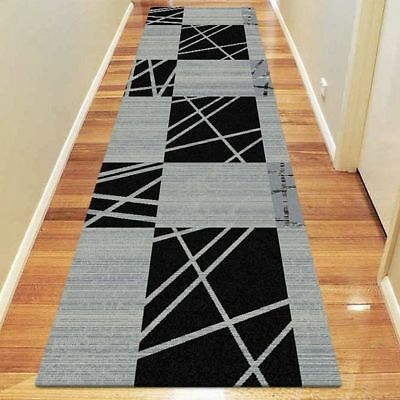 NEW Saray Rugs Scribal Modern Runner Rug in Black, Blue