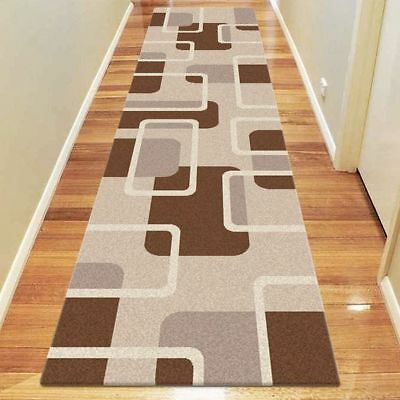 NEW Saray Rugs Sixty Block Modern Runner Rug in Beige, Brown, Red