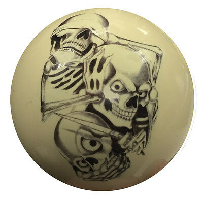 Pool/Billiards Custom Cue Ball NEW See Hear Speak No Evil Skulls Great Gift!