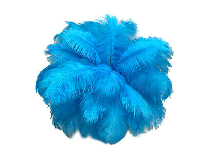 """200 Feathers - 9-13"""" Turquoise Blue Ostrich Drab Wholesale Bulk Carnival Costume"""