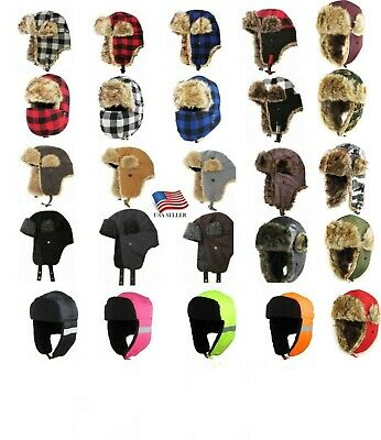 Trapper Bomber Mens Ladies Winter Trooper Aviator Cap Caps Fur Ear flap Ski Hat