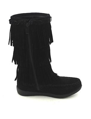 Jelly Beans Girl Size Fringe faux Suede Boots With Side Zipper