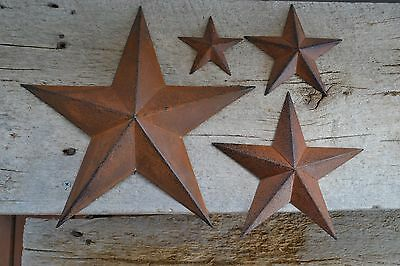 "Set of 4 ~ 12""  8""  5.5"" / 3.5"" RUSTY BLACK BARN STAR Metal Primitive Country"